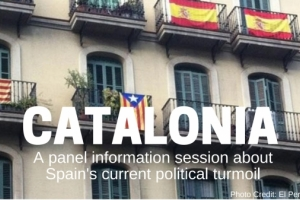 Apartment building with Spanish and Catalonian flags